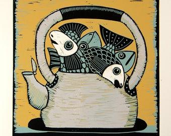 linocut, fish, kettle, yellow, grey, printmaking, original art, kitchen art, home interior, proverb, fun art, humor, modern art, art for him