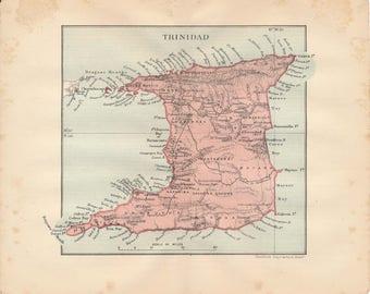1914 Trinidad Antique Map
