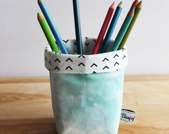 Dreamy Mint Fabric Bucket - Storage, Basket, Multi-use, convertible, office accessories, desk, work, pencil cup, green, home, holder