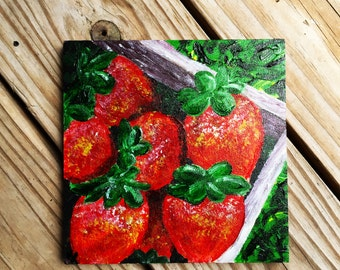 Sweet Strawberries - Acrylic Canvas Painting