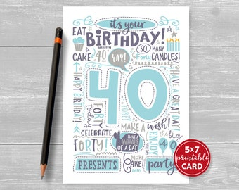 """Printable 40th Birthday Card - Doodled Thirty Birthday Card in Blue - 5""""x7"""" plus printable envelope template. Instant Download."""