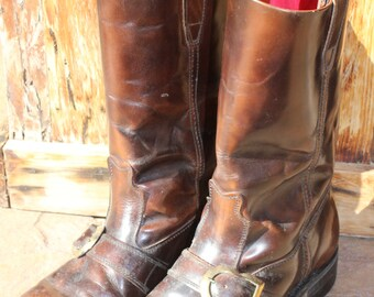 Mens Brown Leather Boots with Buckle and Red Lining