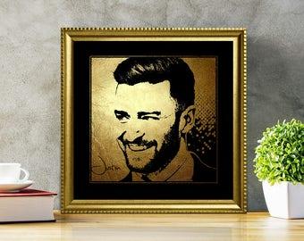 Justin Timberlake in Gold - Justin Timberlake - Justin Timberlake Print - Justin Timberlake Poster - Justin Timberlake art - illustration