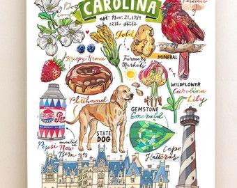 North Carolina print, State symbols, Illustration, State art, Cardinal, Plotthound, Lily, lighthouse, Biltmore estate.