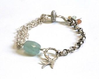 Aquamarin Edelstein Sterlingsilber Armband