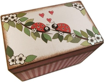 Recipe Box, Decoupaged, Holds 4x6 Cards, Large Handcrafted Box,Ladybug & Other Fun Designs, Kitchen Storage Organization, MADE TO ORDER