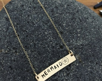 Mermaid Gold Bar Necklace