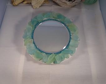 round aqua blue genuine seaglass mirror