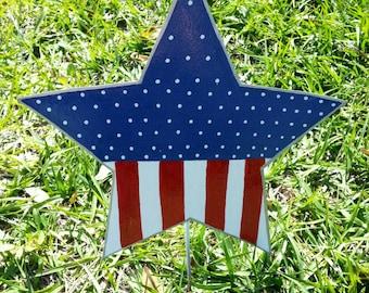 Patriotic  Star Yard Decoration, 4th of July Outdoor Decor, Patriotic Yard Art, Americana Outdoor Decor, American Flag Decor, Memorial Day