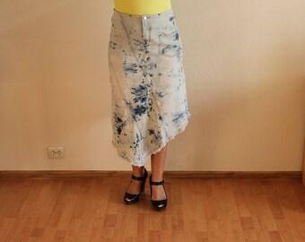 Women's Skirt Denim Skirt Blue Denim Skirt High Waisted Skirt  Acid Wash Jean Skirt