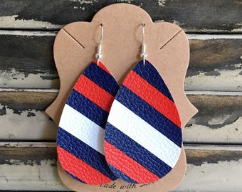 Red, White and Blue Leather Teardrop Earrings - Handmade Earrings - Faux Leather Earrings - Lightweight Earrings