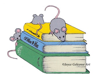 Clip Art, Little Mice Playing on Stack of Books, Cute Mice, Freehand Drawing, Commercial Use, Instant Download, jpg file and png file