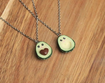 Avocado Kawaii Friendship Necklaces - Friendship Jewelry, Couple Necklaces, Bff Necklaces, Avocado Necklaces