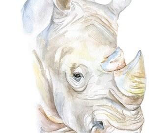 Rhino Watercolor Painting Print - 4 x 6 - Giclee Reproduction Fine Art Print - Rhinoceros African Animal
