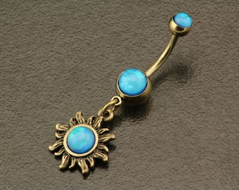 Sun Belly Button Ring. Opal Belly Ring. Boho Tribal Sun Piercing. Gold Navel Ring. Bohemian Sparkle Body Jewelry. Unique Hippie Belly Bar.