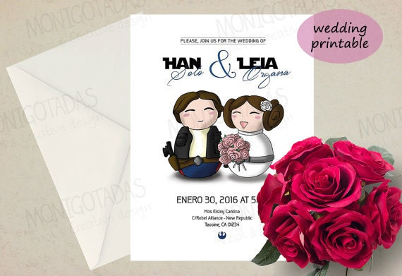 Items Similar To Star Wars Wedding Invitations / Han Solo And Leia  Printable Wedding /Card Printable (Shipping In 4 7 Business Days) On Etsy