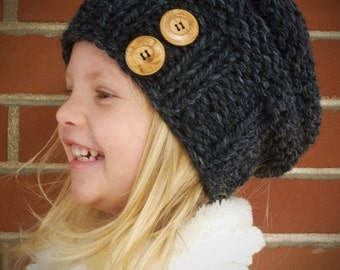 Knit Slouchy Toddler Beehive Hat in Charcoal Grey with Two Natural Wood/Coconut Buttons ANY COLOR - Toddler Hat - Boys Girls Kids Hat