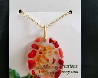 Fire Agate and Coral Resin Pendant