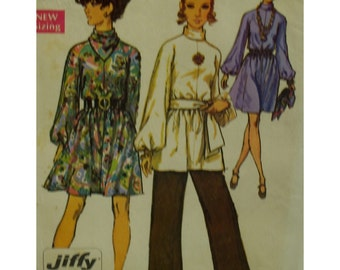 """1960s High Neck Tunic or Dress Pattern, Wide Kimono Sleeves, Straight cut Pants, Sash, Kerchief, Simplicity No. 8439 Size 14 Bust 36"""""""