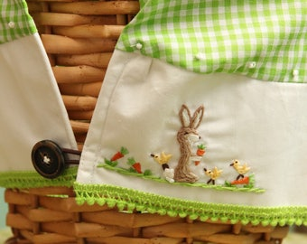 READY Boys Small 8-9 inch basket heirloom hand embroidered liner and Easter Basket
