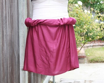 Pareo- solid color-full  and half size- rayon- raspberry-  dark pink- sarong, Tahitian costume, Tahitian pareo
