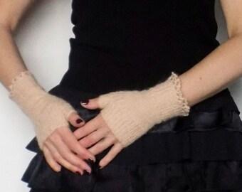 Light Peach Fingerless gloves / arm warmers, No.7
