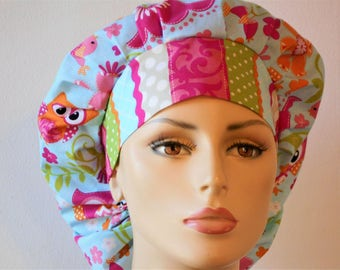 Scrub Hats Whimsical Colorful Owls Bouffant Scrub Hat and Flowers All Over with a Matching Striped Headband