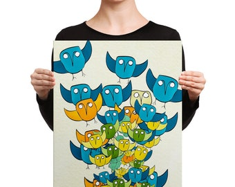 Owl Storm Illustration 16x20 Hand-stretched Canvas Print