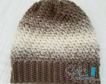 Ombre' crocheted adult beanie with or without matching pom-pom