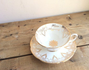 Happy Anniversary Teacup and Saucer Tea set by Royal Grafton, Bone China Cup & Saucer, Gold Anniversary Gift for Her