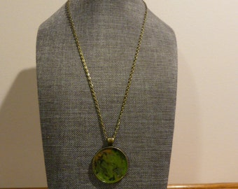 Army green crayon pendant necklace/olive green necklace/statement jewelry/crayon jewelry/gift for her