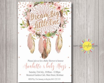Printable Digital Custom Baby Shower Invitation Boho Floral and Feather Dream Catcher Gold Rose Foil Faux Stars Neutral Girl Personalised