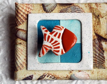 Nautical triptych Panel made of collage paper on stretcher and molding polymer clay