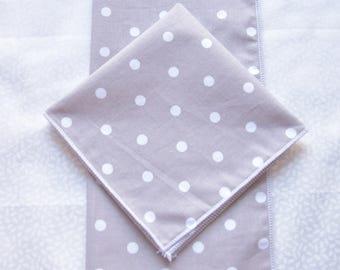 set of 2 handkerchiefs white dots on gray background