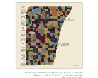 Kewaunee County, Wisconsin Art Map Print by James Steeno