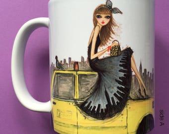 Tessa Taxi, Coffee Mug, Fashion illustration, Bella Pilar, Fashion mug