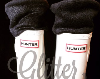 SLUGS Fleece Rain Boot Liners Solid Black With Glitter Cuff, Tall Socks, Spring Summer Fashion, Boot Cuffs, Cold Weather (Sm/Med 6-8 Boot)