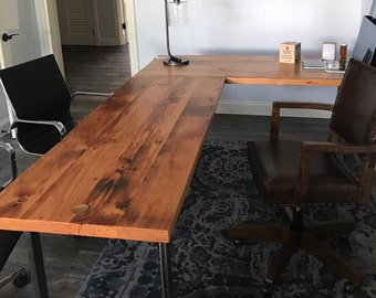 wood office table. L-shaped Desk. Reclaimed Wood And Steel Industrial Desk Office Table