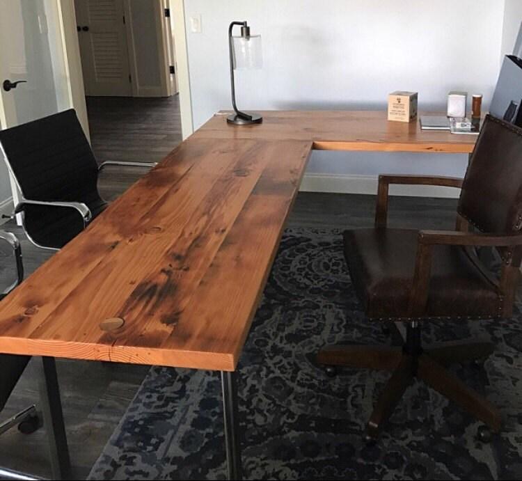 Lshaped Desk Reclaimed wood desk Wood and steel desk