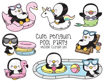 Premium Vector Clipart - Kawaii Penguin - Cute Penguin Pool Party Clipart - Pool Party - Instant Download - Kawaii Clipart