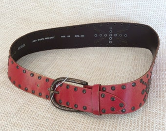 Vintage Italian DIESEL red studded wide leather belt 85