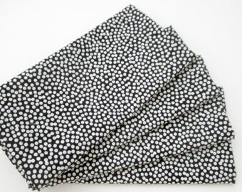 Large Cloth Napkins - Set of 4 - Black White Polka Dots - Dinner, Table, Everyday, Wedding