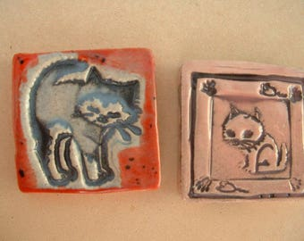 Cats 3 * 3 cm glazed ceramic cabochons