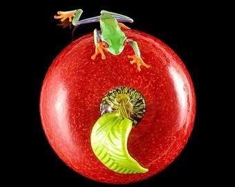 Glass Apple and Frog, Fruit Still Life, Fruit Art