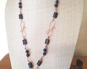 Lapis Pendant Necklace  in Copper