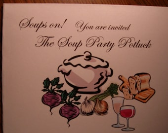 Party invitations cards/ Soup Potluck Instant Download PDF