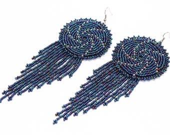 Beaded Earrings, Beaded Medallion Earrings, Swirl Wave Earrings, Large Earrings