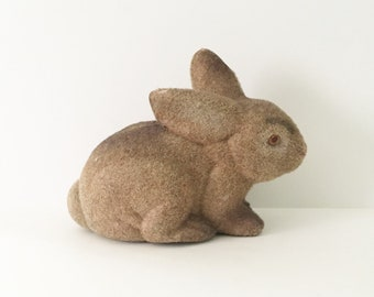Bunny Bank Flocked Rabbit Fuzzy Bunny Bank Rabbit Bank 1980s Bank Brown Bunny