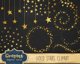 Gold Star Clipart, Glitter Clip Art, Gold foil stars, Celestial Clipart, starry night sky PNG Digital Instant Download Commercial Use