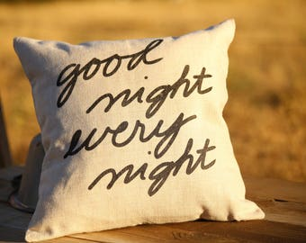 Good night every night pillow